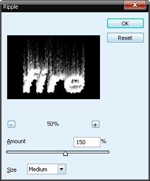 Оживить изображение: Filter-Distort-Ripple (Фильтр — Деформация — Рябь). Параметры: Size — Medium (Размер — Средний), Amount (Эффект) — 150%