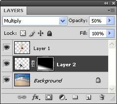 Для слоя с тень в палитре слоёв измените режим (Mode) на Multiply (Умножение)