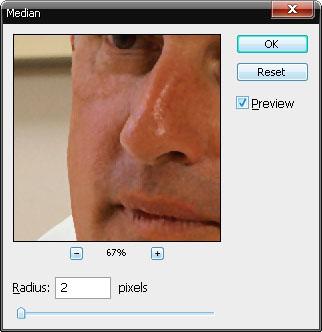 А мелкие с помощью: Filter-Noise-Median (Усреднение).