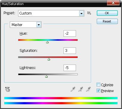 Дадим коже чуть красного цвета (с помощью Hue/Saturation):