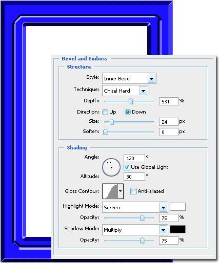 Применим к новому слою другой эффект (Drop Shadow, Bevel and Emboss).