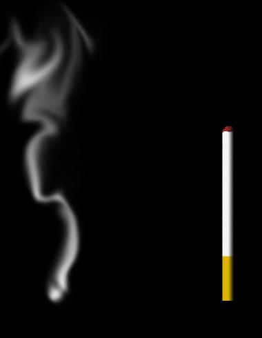 Теперь инструментом Smudge (Палец) превращаем белую кляксу в дым.