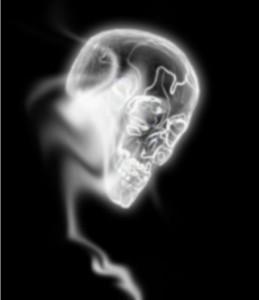 Потом переходим на слой дыма и размажем дым по черепу.