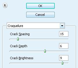 Продолжаем: Filter-Texture-Craquelure (Фильтр-Текстура-Кракелюры). Настройки смотрите ниже: