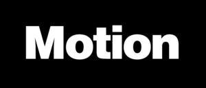 Создать изображение, с чёрным фоном и белыми буквами Motion.
